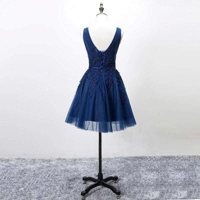 Silver Grey Lace Homecoming Dress Cheap   Sleeveless Tulle Short Hoco Dress_3