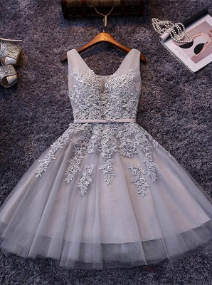 Silver Grey Lace Homecoming Dress Cheap | Sleeveless Tulle Short Hoco Dress