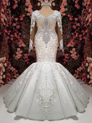 Luxury Crystals Mermaid Bridal Gowns | Long Sleeves Chapel Train Wedding Dresses