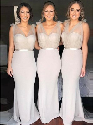 V-neck Sheer Tulle Sexy Bridesmaid Dresses | Sheath Sleeveless Maid Of Honor Dress_1
