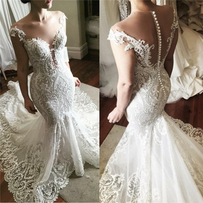 Wholesale Lace Fit and Flare Wedding Dress | Glamorous Sheer Tulle Bridal Gowns with Buttons_3