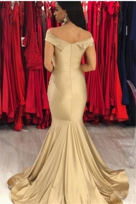 Sexy Gold Off the Shoulder Cap sleeves Evening Dresses | Mermaid Prom Dresses with Soft Pleats_3