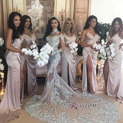 Long Sleeve Silver High Neck Popular Evening Dress Lace Mermaid Luxury Wedding Dresses BH-362_6