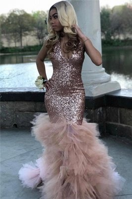 Shiny Sequins Ruffles Prom Dress Cheap Online | Halter Mermaid Tulle Sexy Graduation Dress bc1836