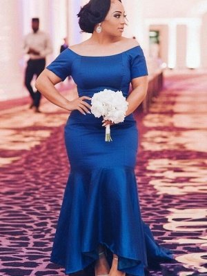 Elegant Plus Size Bridesmaid Dresses Cheap Online | Short Sleeves Mermaid Blue Maid of Honor Dress_2