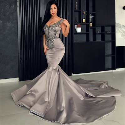Hot V-Neck Silver Sleeveless Beaded Evening Dresses | Mermaid Beaded Appliques Evening Gowns_3