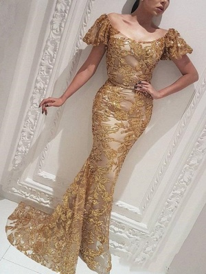 Gorgeous Mermaid Off-the-Shoulder Gold Prom Dress | Evening Dress