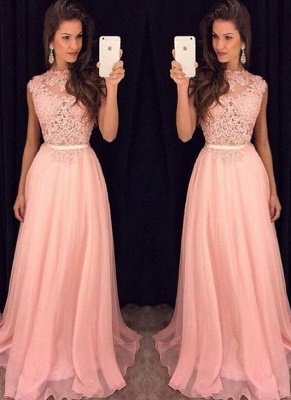 Elegant Pink Sheer Lace with Sash Sleeveless Long Prom Dresses