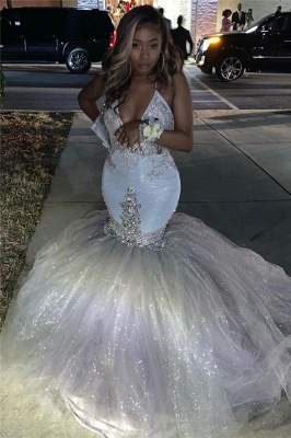 Spaghetti Straps Silver Sparkling Sequins Prom Dress Cheap | Beads Appliques Mermaid Sexy Prom Dress Online_3