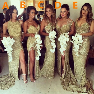 Sexy Gold Sequins Bridesmaid Dresses Side Slit Sparkly Wedding Party Dress BO8128_4