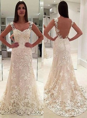 Elegant Lace Straps Sleeveless Backless Mermaid Wedding Dresses_1