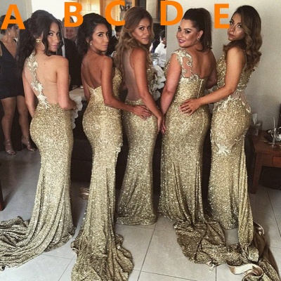 Sexy Gold Sequins Bridesmaid Dresses Side Slit Sparkly Wedding Party Dress BO8128_5