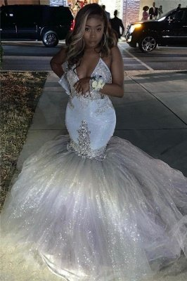 Spaghetti Straps Silver Sparkling Sequins Prom Dress | Beads Appliques Mermaid Sexy Prom Dress Online_3