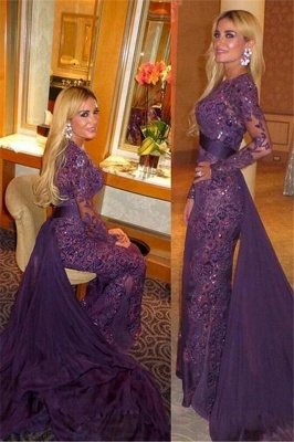 Arabic Long Sleeve Evening Gowns Cheap | Beaded Lace Appliques Prom Dress with Chiffon Train
