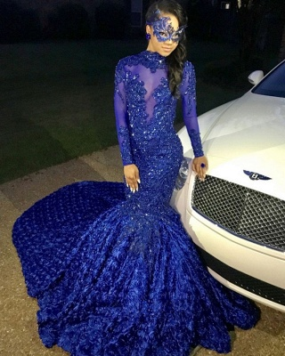 Sexy Blumen Royal Blue Abendkleid | Langes Abendkleid_2