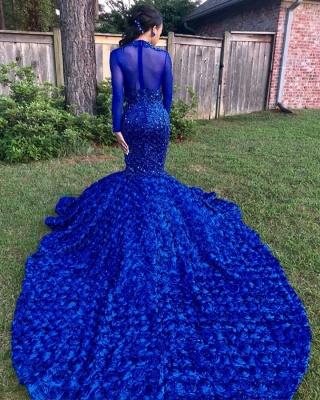 Sexy Blumen Royal Blue Abendkleid | Langes Abendkleid_4