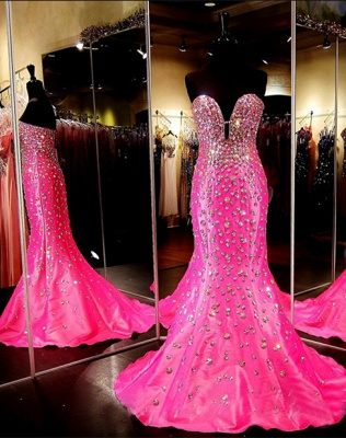 Luxury Sweetheart Mermaid Sleeveless Open-Back Crystal Prom Dress