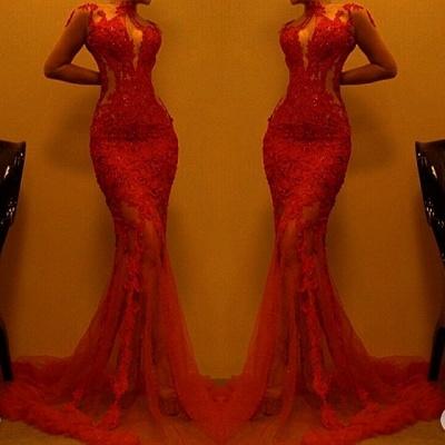 Superbe robe de soirée sirène rouge | Robe de bal en dentelle en vente_3