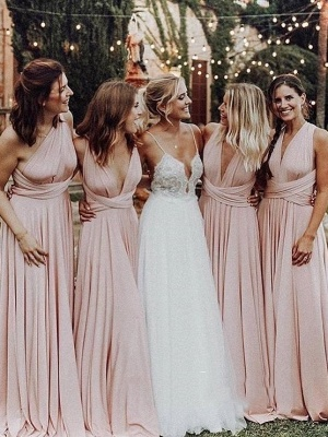 Elegant A-Line Chiffon Ruched V-Neck Long Bridesmaid Dress | Wedding Party Dress
