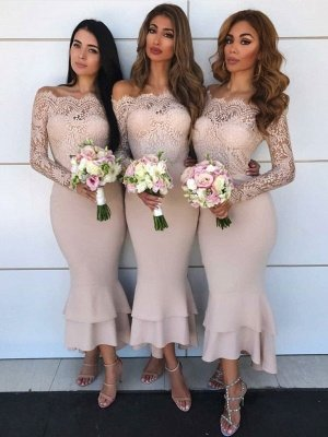Long Sleeve Lace Bridesmaid Dresses Affordable | Short Sheath Ruffles Trumpet Formal Evening Dress_1