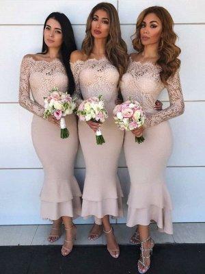 Schilichte Hellrosa Brautjungfer Kleider | Hochzeitskleid Mit Spitzenärmeln Online bestellen_1