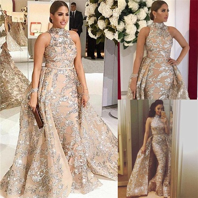 Silver Beading Lace Appliques Sexy Sleeveless Prom Dresses | Overskirt Champagne Evening Gown_3