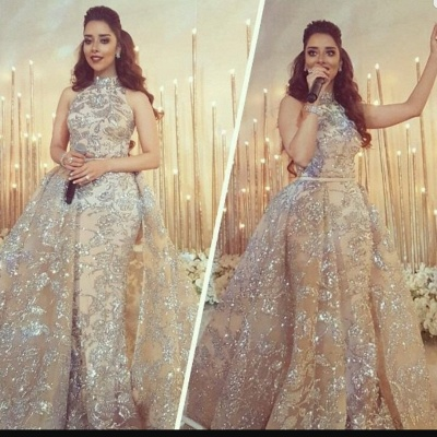 Silver Beading Lace Appliques Sexy Sleeveless Prom Dresses | Overskirt Champagne Evening Gown_5