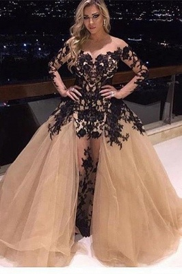 Glamorous Long Sleeve Black Appliques Prom Dress Tulle Ruffles Party Gowns BA8156_1