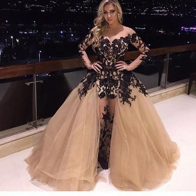 Glamorous Long Sleeve Black Appliques Prom Dress Tulle Ruffles Party Gowns BA8156_3
