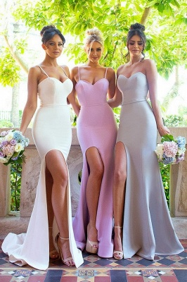 Plain Spaghettis-Straps Mermaid Side-Slit Bridesmaid Dresses_1