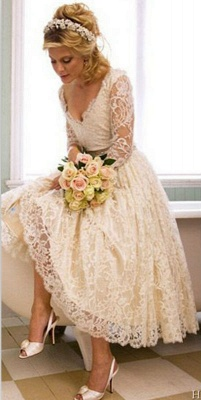 A-Line V-Neck 3/4 Long Sleeve Lace Wedding Dress New Arrival Tea Length Plus Size Bridal Gown BA6794_2