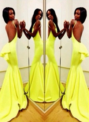 Fluorescent Green Prom Dresses High Neck Sleeveless Mermaid Sweep Train Ruffles Sexy Backless Charming Evening Gown_3