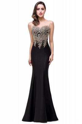 INGRID | Mermaid Crew Illusion Long Ärmellos Burgund Plus Size Abendkleider mit Applikationen_9