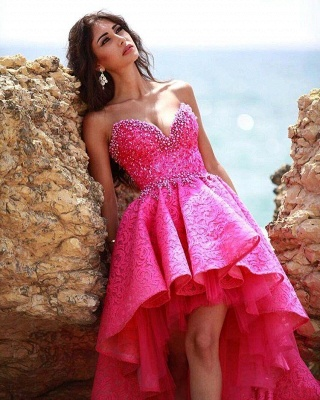 Glamorous Sweetheart Hi-lo Lace Beadings Homecoming Dress