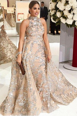 Silver Beading Lace Appliques Sexy Sleeveless Prom Dresses | Overskirt Champagne Evening Gown_1