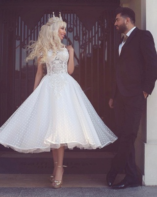 Off-the-Shoulder Ball-Gown White Wedding Dress_3
