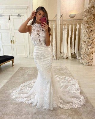 Glamorous Halter Lace Appliques Sleeveless Mermaid Wedding Bridal Gowns