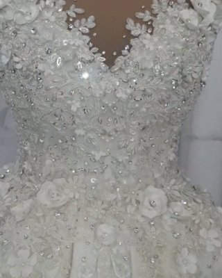 Gorgeous Ball Gown Wedding Dresses   Off-the-Shoulder Floral Beading Bridal Gowns_3