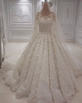 Gorgeous Crew Neck Long Sleeve Lace Appliques Wedding Bridal Dress|Elegant Ball Gown Sweep Train BC1244_1