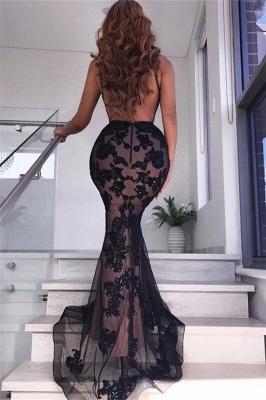 Sexy Backless Black Evening Dresses   V-neck Appliques Formal Dresses with Slit_3