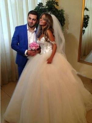 Spaghettis Straps Ball Gown Wedding Dresses Crystals Beaded Princess Long Bridal Gowns