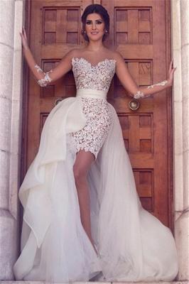 Свадебное платье с длинным рукавом со съемным поездом Последнее короткое свадебное платье с кружевами BA2363_3