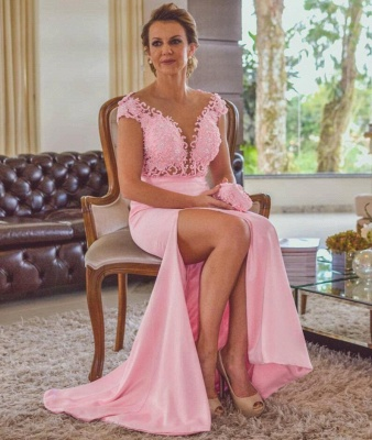 Pink Column Lace Evening Dresses | Cap Sleeves Open Back Side Slit Formal Dress_4