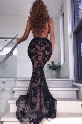 Sexy Backless Black Evening Dresses | V-neck Appliques Formal Dresses with Slit_3