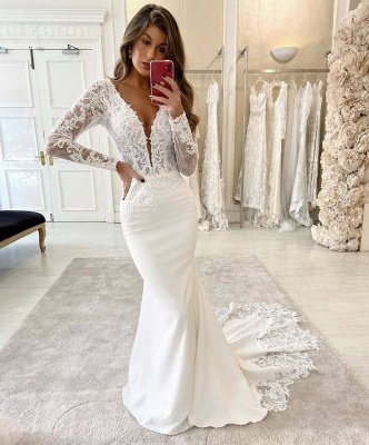 Mermaid V-Neck Lace Appliques Bridal Dress Long Sleeve Sexy Wedding Dress_2