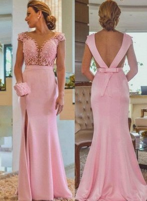 Pink Column Lace Evening Dresses | Cap Sleeves Open Back Side Slit Formal Dress_2