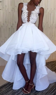 White Hi-Lo Sleeveless Lace Appliques Ruffles Wedding Dress_1