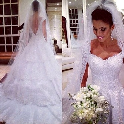 New Arrival Tiered Court Train Wedding Dress Crystal Lace V-Neck Back Plus Size Bridal Gown_2