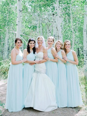 Fashion Mint Green One-Shoulder Chiffon Long Wedding Party Bridesmaid Dresses_1
