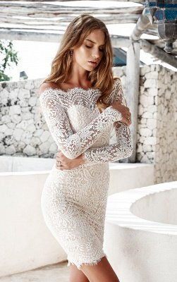Simple White Long-Sleeve Mermaid Short Cocktail Party Dresses_2